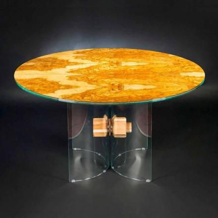 Mesa redonda madera de olivo y cristal Portofino Vgnewtrend
