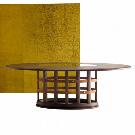 Grilli Harris moderna mesa elíptica de madera maciza hecha en Italia