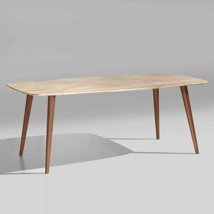 Mesa moderna de alta calidad en mármol y madera de nogal Made in Italy - Hercules