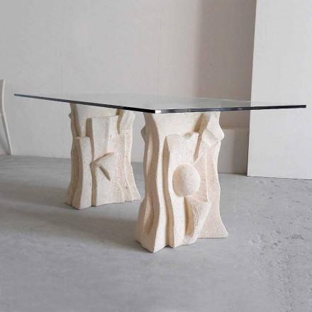 Mesa de piedra de Vicenza y cristal esculpida a mano Priamo