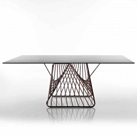 Mesa de diseño moderno en vidrio templado hecho en Italia, Mitia