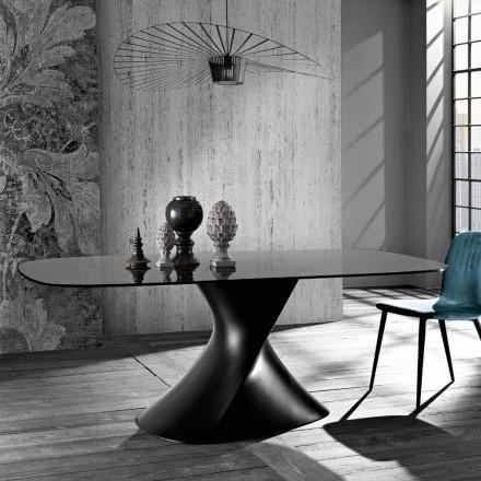 Mesa de diseño moderno en vidrio templado hecho en Italia, Clark