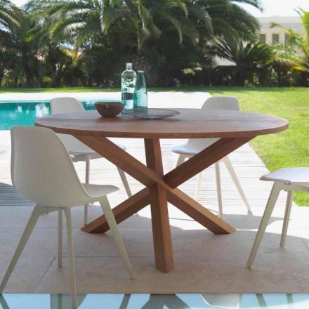 Mesa redonda de jardín en puente de madera de caoba por Talenti
