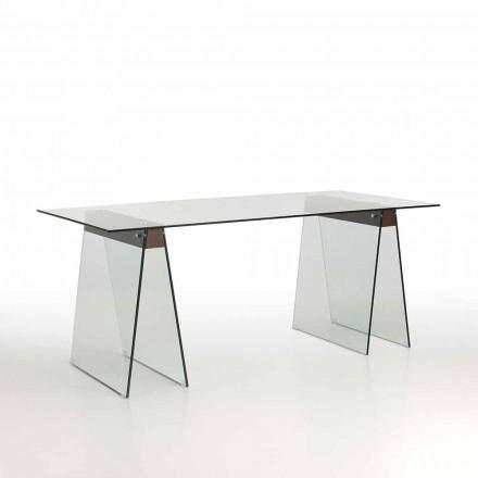 Mesa de estar de diseño moderno con tablero de vidrio y base de vidrio - Lausana