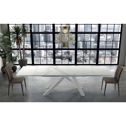 Mesa Moderna Extensible hasta 300 cm en Mármol Hecho en Italia - Settimmio
