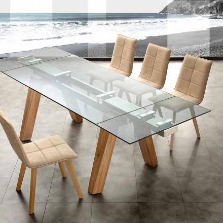 Mesa moderna extensible de cristal y madera maciza natural Florida