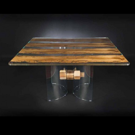 Mesa moderna de madera de Briccola Veneciana y cristal