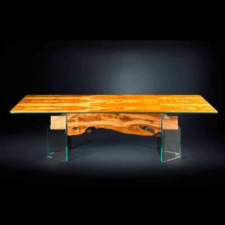 Mesa moderna rectangular madera de olivo y cristal Portofino