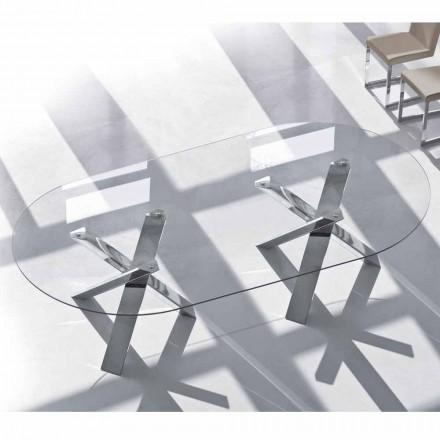 Mesa de diseño oval en cristal de 280x120cm realizada en Italia Árbol