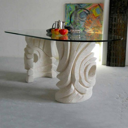 Mesa ovalada piedra de Vicenza y cristal hecha a mano Erinni