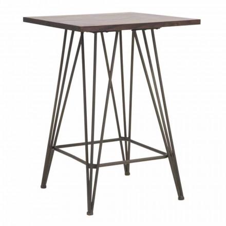 Mesa alta cuadrada de diseño industrial en hierro y madera - Helle