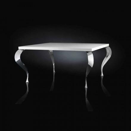 Mesa cuadrada fija de diseño de MDF y acero cromado Luigi