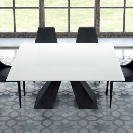 Mesa cuadrada de vidrio templado extra blanco y acero Made in Italy - Dalmata
