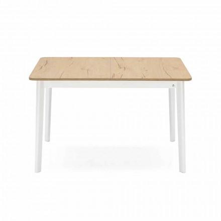 Mesa extensible rectangular de hasta 170 cm en madera Made in Italy - Dine