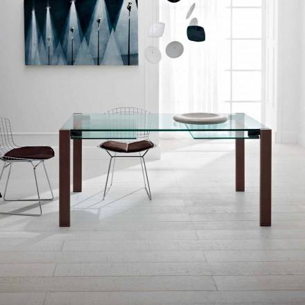 Mesa extensible hasta 280 cm en vidrio transparente Made in Italy - Sopot