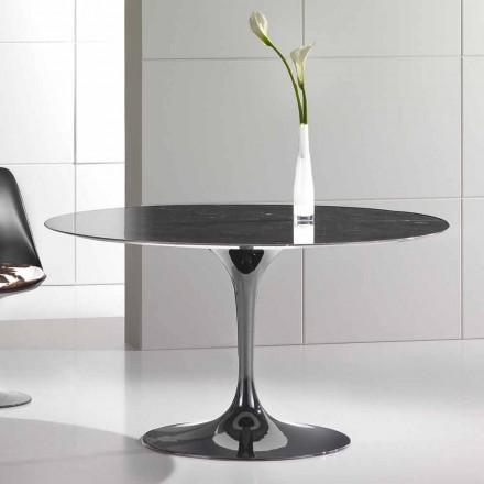 Mesa de comedor redonda de mármol de alta calidad Marquinia Made in Italy - Nerone