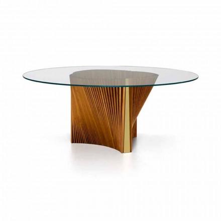 Mesa redonda de lujo en vidrio y fresno aceitado Made in Italy - Madame