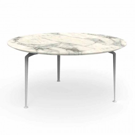 Mesa redonda para exteriores de gres y aluminio de diseño moderno - Cruise Alu Talenti