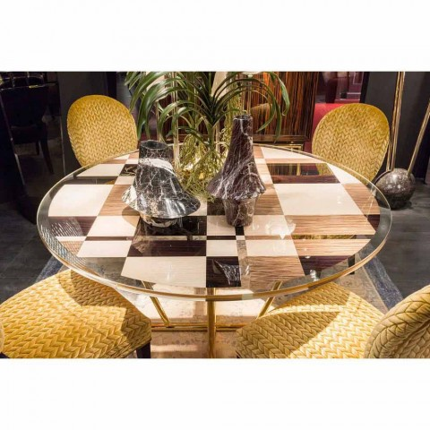 modeno Mesa redonda con tapa de cristal y incrustaciones Ozzy wood