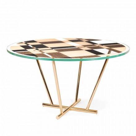 modeno Mesa redonda con tapa de cristal y incrustaciones de madera de Ozzy