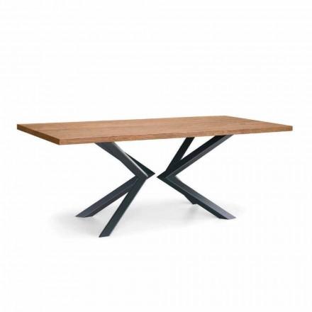 Mesa de comedor moderna en roble anudado y metal Made in Italy - Veruka