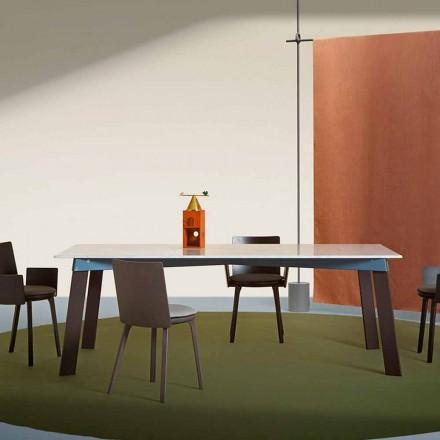 Mesa de salón moderna en acero con tablero de mármol de diseño - Aronte