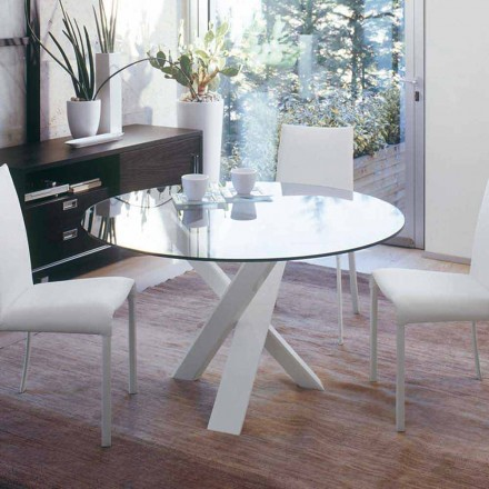 Mesa redonda de diseño d.130 con tapa de cristal realizada en Italia Cristal