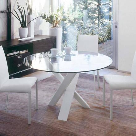 Mesa redonda de diseño d.160 superior de cristal realizada en Italia Cristal