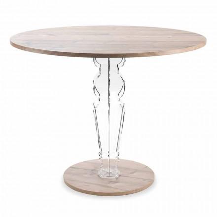 Mesa redonda de madera y pata de plexiglás de diseño transparente - Maritozzo