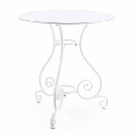 Mesa de jardín redonda estilo Shabby Chich en acero pintado - Encanto