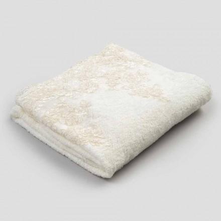 Toalla de baño de felpa de algodón con borde en mezcla de lino y encaje - Ginova