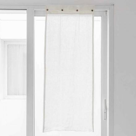 Cortina Blanca en Lino Claro y Botones Nácar - Georgette
