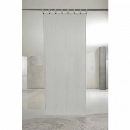 Cortina Lino Claro Blanca con Botones de Diseño de Lujo - Geogeo