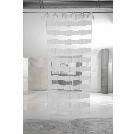 Cortina de Organza y Lino Blanco con Bordados de Elegante Diseño - Oceanomare