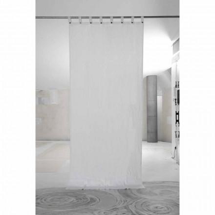 Cortina de lino grueso blanco con botones de lujo de calidad italiana - Gorgia