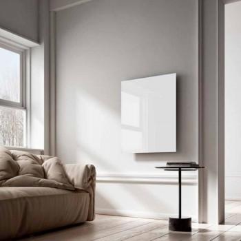 Radiador eléctrico infrarrojo de diseño en vidrio transparente blanco.
