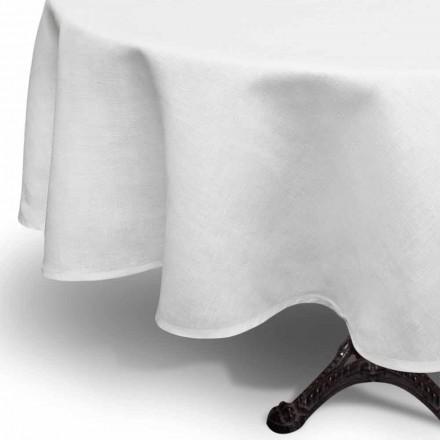 Mantel redondo de lino blanco crema hecho a mano en Italia - Blessy