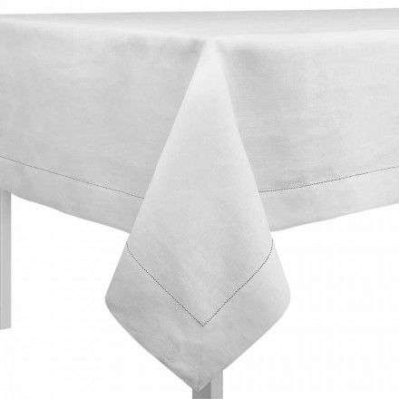 Mantel rectangular o cuadrado de lino blanco crema Made in Italy - Chiana