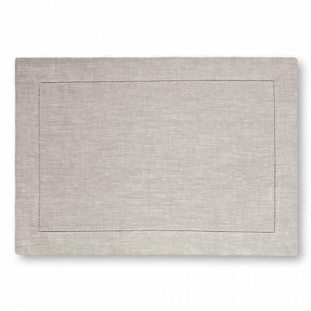 Mantel individual americano de lino blanco puro o natural Made in Italy, 2 piezas - Chiana