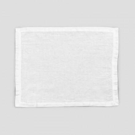 2 manteles individuales de lino blanco puro con borde o encaje, diseño Made in Italy - Davincino