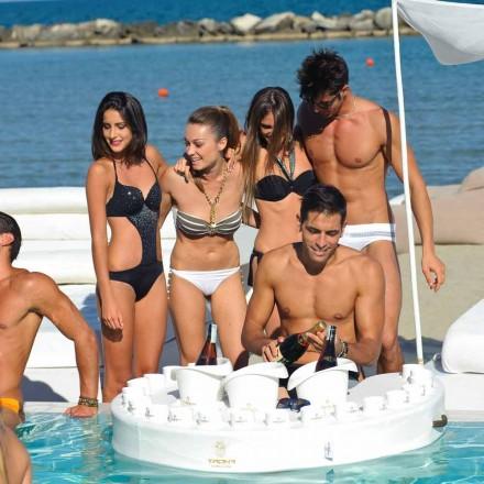 Barra flotante de diseño Trona en cuero ecológico náutico y metacrilato