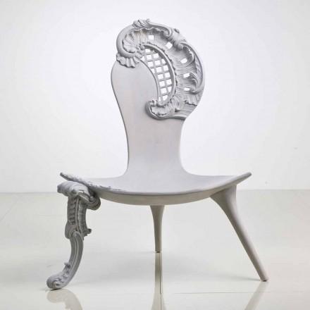 Trono tallado a mano en roble macizo, diseño gris, León
