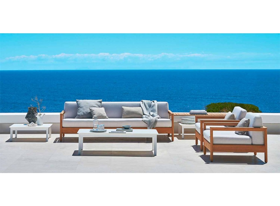 Varaschin Bali moderno sofá al aire libre de 3 asientos en madera maciza de teca