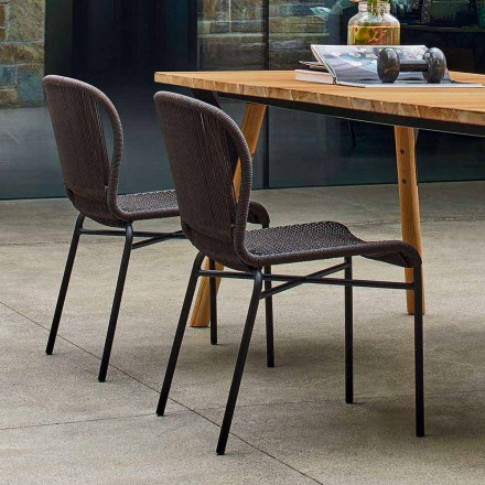 Varaschin Cricket silla al aire libre moderna tejida a mano, 2 piezas