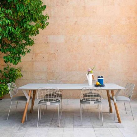 Varaschin Enlace mesa de mesa con patas de madera de teca, H65 cm