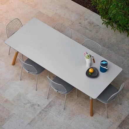 Varaschin Enlace tabla de extensión de jardín con patas de madera de teca, H75 cm