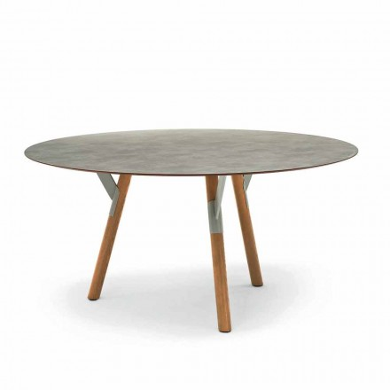 Varaschin une mesa redonda con patas de madera de teca, H 75cm