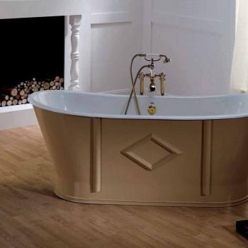 Bañera independiente de hierro fundido pintado y decorado Allen