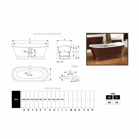 Bañera de cuero fundido de hierro cubierta exterior Elsie