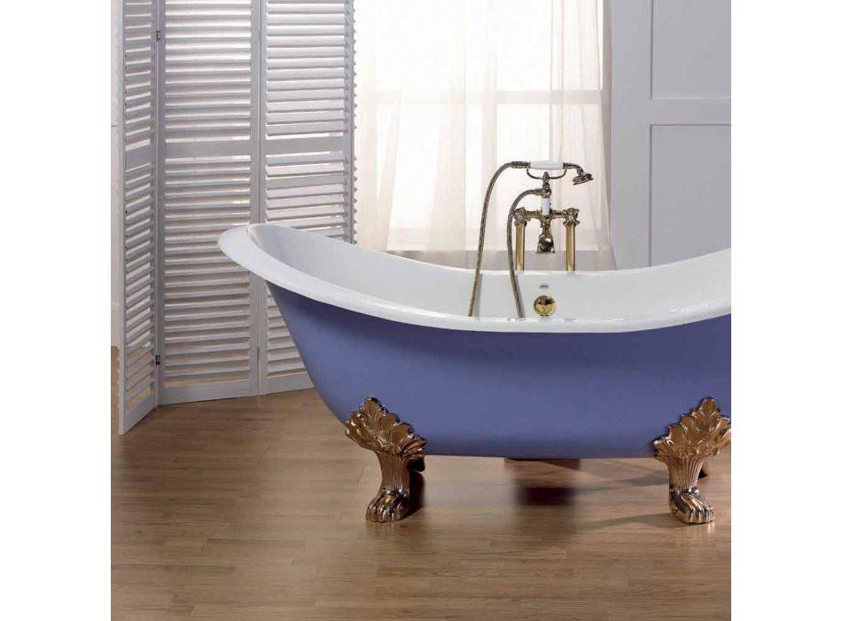 Baño esmaltado y pintado con pies de fundición de hierro Carril